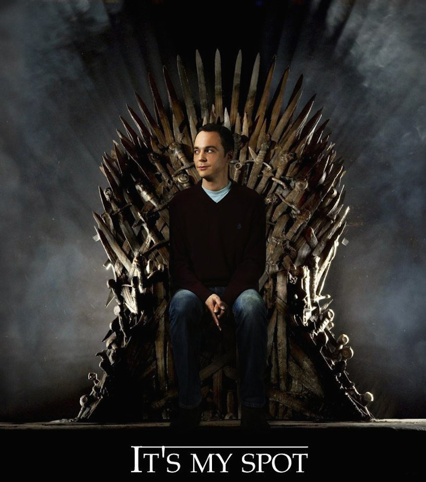sheldon cooper nouveau roi de games of thrones. Black Bedroom Furniture Sets. Home Design Ideas