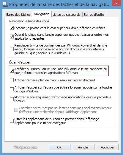Démarrer Windows 8.1 sur l'écran d'accueil Modern UI