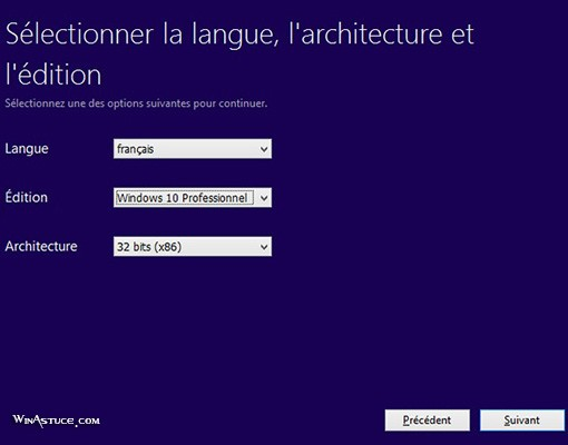 Installation de Windows 10