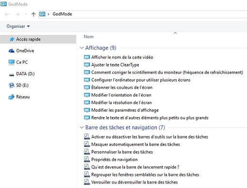 Capture God Mode Windows 10