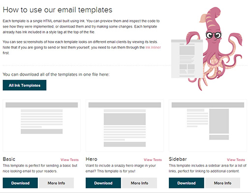 Ink responsive email templates