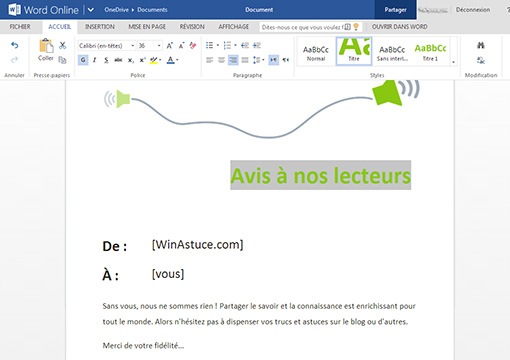 Word sur Office Online