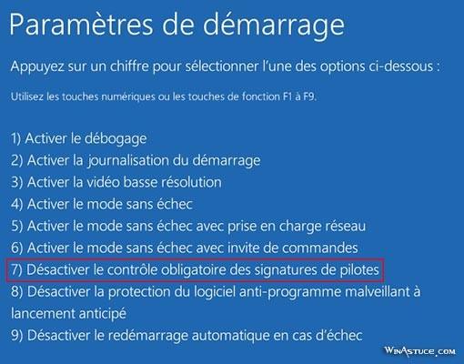 Windows 8 - Paramètres de démarrage